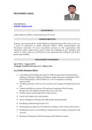 Sample Resume For Public Relations Officer by Cv Pro Doc