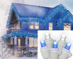 set of 10 blue and white color changing led icicle
