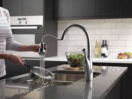 touch technology kitchen faucet delta allora pull touch single handle kitchen faucet with
