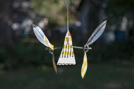 Kinetic Garden Art Whirligig Whirlygig Wind Spinner Kinetic Art Recycled Home Garden