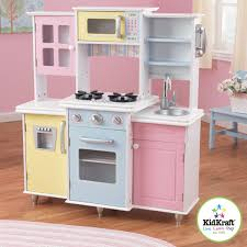 kidkraft large pastel wooden play kitchen with piece accessories