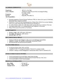 Resume Title Examples For Mba Freshers by Resume Format For Freshers Chartered Accountants