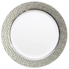 silver wedding plates posh party supplies 10 25 hammered white and silver plastic