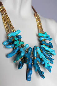 etsy handmade bead necklace images Chunky turquoise coral necklace handmade clay beads blue etsy jpg