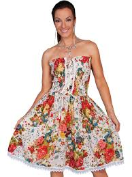 scully women u0027s white floral print strapless western dress