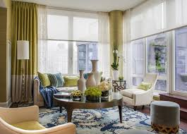 Green Colour Curtains Ideas Green Curtain On Large Glass Window Combined With White Roll Up