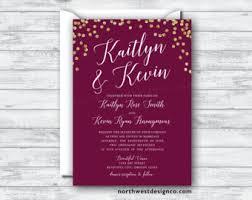 Bling Wedding Invitations Maroon Gold Wedding Invitation Reply Card Set Wine Themed Boho