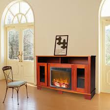 cambridge savona 59 in cherry electric fireplace mantel with