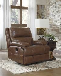 Leather Rocker Recliner Buy Ashley Furniture Lensar Nutmeg Powered Swivel Rocker Recliner