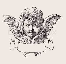 engraved child angel head