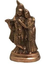radha krishna copper statue w antique rustic look religious