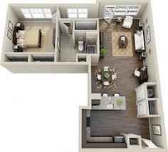 Uma Floor L Este Apartamento Em Forma De L Oferece Uma Cozinha E Pequeno
