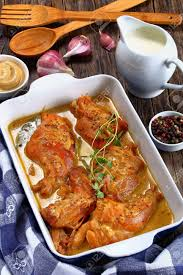 cuisine lapin appetizing rabbit cooked in mustard sauce or lapin a la moutarde