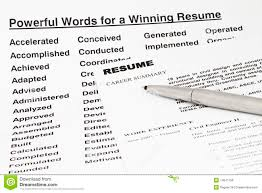 Top Words To Use In Resume Powerful Words For Winning Resume Stock Photo Image 14041158
