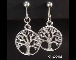 tree of clip on earrings with celtic tree tibetan silver