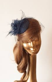 hair fascinator navy blue fascinator with birdcage veil wedding mini hat with veil