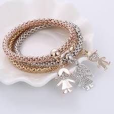 bracelet elastic silver images Minhin 3pcs gold silver rose gold color bracelet rhinestone cute jpg