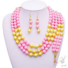 gold beaded necklace set images Indian design beads jewelry set gold with pink bead necklace jpg