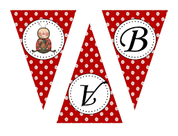 flower lady bug party pennant banner digital download 3 50