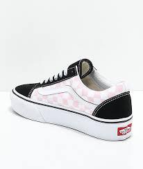 light pink checkered vans vans old skool black pink white checkered platform skate shoes