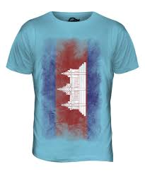 White Blue Orange Flag Cambodia Faded Flag Mens T Shirt Tee Top Kampuchea Football