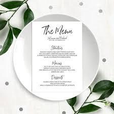 stylish hand lettered printable custom menu calligraphy wedding