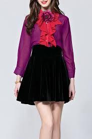 see thru blouse pics sipaiya purple 3d flower ruffle see thru blouse blouses at dezzal