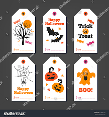 set halloween gift tags autumn tree stock vector 313938119