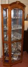 lighted etched glass front corner curio cabinet display cabinet