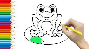 frog coloring page for kid and learning how to draw frog videos