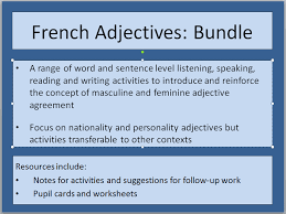 ks2 french adjective agreement activities nationalities by