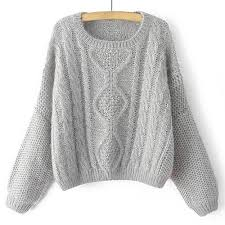 stylish s neck cable knit sleeve sweater gray