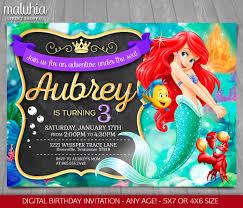 pequeña sirena invitación fiesta de cumpleaños de ariel