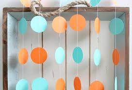 turquoise and orange 12 ft circle paper garland wedding