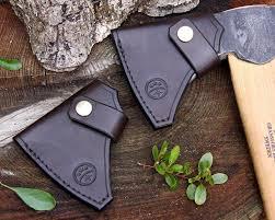 Handmade Swedish Axe - made brown leather sheath for gransfors bruks hunters axe
