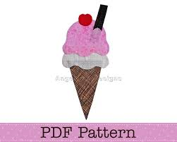 ice cream cone applique template pdf pattern food applique