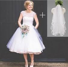short vintage polka dotted wedding dresses tea length beach bridal