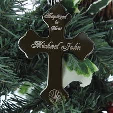 baptism christmas ornament personalized baptism cross ornament the catholic company