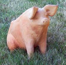 mexican clay pottery large sitting pig by susano outdoors pig