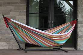 Hammock Chair And Stand Combo Vivere Combo Double Cotton Hammock With Space Saving Steel Stand