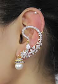 ear cuffs india indian ethnic peacock design zircons made ear cuff earring