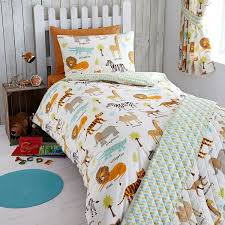 Uk Single Duvet Size My Safari Animals Junior Duvet Cover And Pillowcase Set Amazon Co