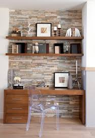 Wainscoting Office Stone Accent Wall Home Office Transitional With Neutral Colors