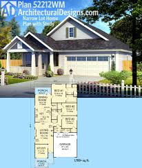 plan 52212wm narrow lot home plan with study architectural