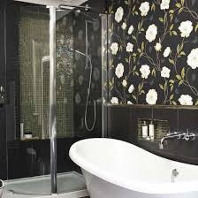 bathroom with wallpaper ideas statement bathroom wallpaper statement wallpaper and contrasting