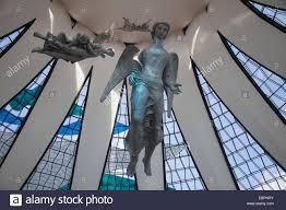 angel sculptures alfredo ceschiatti metropolitan cathedral stock