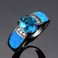 blue opal engagement rings blue opal rings kt black gold filled fashion engagement ring anel