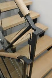 Metal Landing Banister And Railing Steel Glass And Oak Handrail Hacin Associates Boston