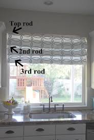 Window Curtain Tension Rod Curtain Shade Tutorial Faux Shades And Stenciling