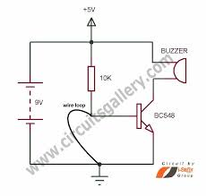 simple wire loop alarm circuit schematics for door security